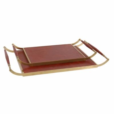 欧式长方形茶几黄铜皮质托盘装饰品