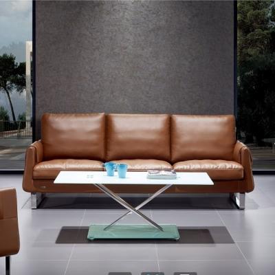 现代时尚真皮办公室沙发高档商务接待沙发茶几组合进口牛皮沙发