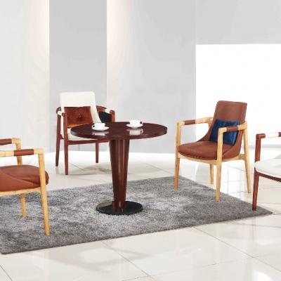 皮质椅子  实木圆桌   洽谈桌椅